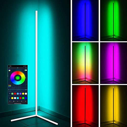 LED Stehlampe 20W Dimmbar Stehleuchte mit RGB und Fernbedienung, Modern Farbwechsel Eckleuchte Standlampe für Wohnzimmer Schlafzimmer, Schwarz [Energieklasse A],147x 40cm,Weiß,APP
