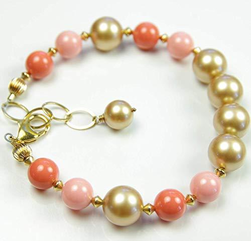 Orange Coral Gold Swarovski Pearl Bracelet 35th Wedding Anniversary