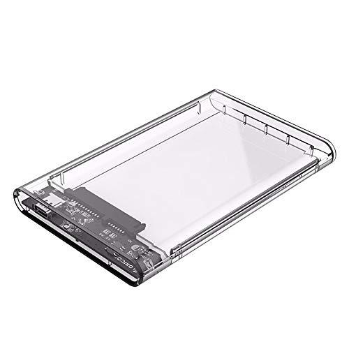 2.5 Pulgadas HDD/SSD Tipo-C a SATA3 Caja de Disco Duro Transparente Externo SSD HDD Funda de Soporte UAP con indicador Azul LED