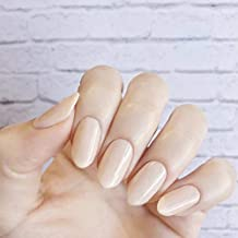 Skyvan 24 PCS/Set Nude Cream Beige Full Cover False Nail Set Pre-design Round Head Press On Fake Nails with Glue and Adhesive Tab 10 Sizes
