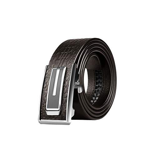 Dick Gürtel Männer automatische Schnalle Lederhosen Gürtel mittleren Alters und Junge Männer Abnutzung der Erste Schicht aus Leder Komfortabel (Color : Brown, Size : 110cm)
