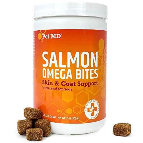 Pet MD Salmon Oil Omega 3 for Dogs - Advanced Allergy & Itch Relief for Dogs - Omega 3 & 6, EPA & DHA, Fish Oil Omega 3 Soft Chews - 120 Count