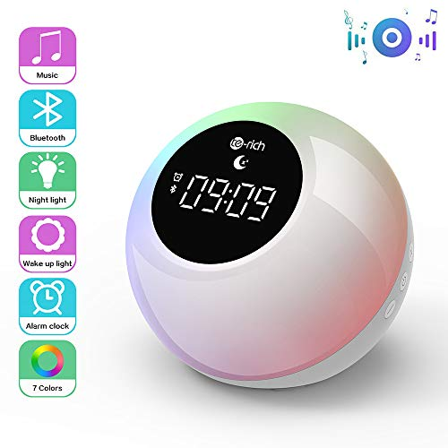 Te-Rich Luz Despertador Recargable para niños con altavoces Bluetooth,Wake up light portátil con Control Táctil,Snooze,7 Colores,6 Sonidos Hipnóticos,2 Modos de iluminación para fiestas/cumpleaños