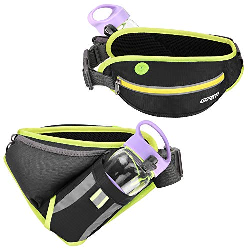 """GRM Running Pouch Belt Hydration Waist Pack for running, Adjustable & Multifunction Running Fanny Pack Hydration Belt with water bottle holder for Phone up to 6.5"""", Perfect for Women Men, Black"""
