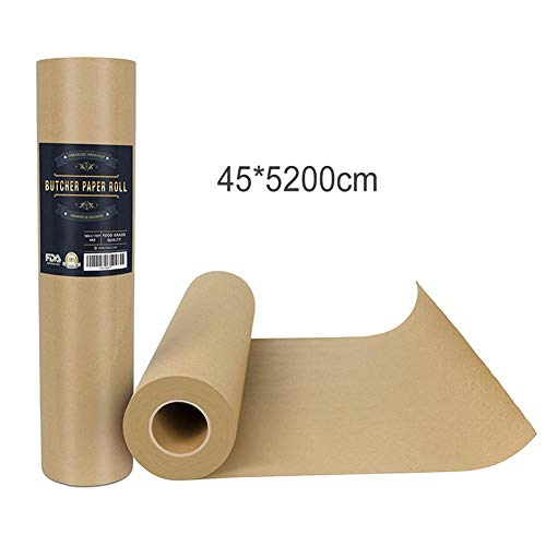 OC TRADE Multifunctional Natural Pure Virgin Pulps Breathable Butcher Kraft Paper Roll Wrapping Paper for Smoking BBQ Meats Cooking Paper- Grill Utensils Set- Grilling Utensil set-45x5200cm