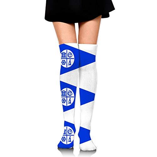 Hdadwy Knee High Socks Minneapolis City Flag Women's Athletic Over Thigh Long Stockings