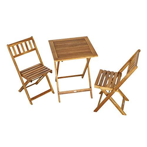 Aktive 61000 - Set de 1 mesa, 59 x 59 x 74 cm y 2 sillas, 44 x 51 x 82 cm de acacia