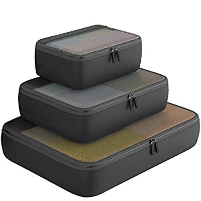 Packing Cubes Organizer Travel Accessories for Luggage 3 Set (Black)