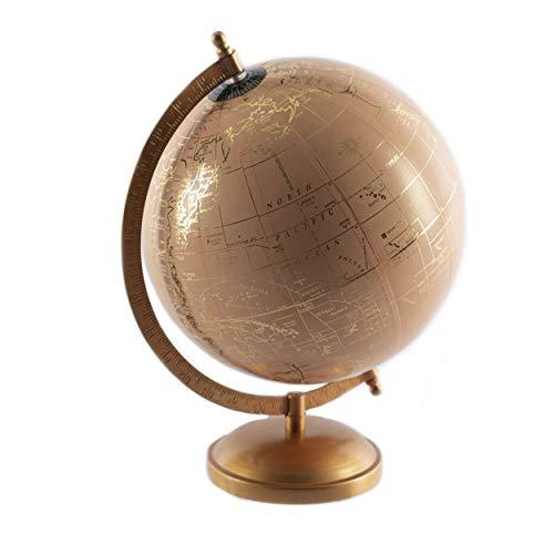 Knüllermarkt Moderner Globus mit Metall-Ständer in Altrosa - Gold ca. 20 cm