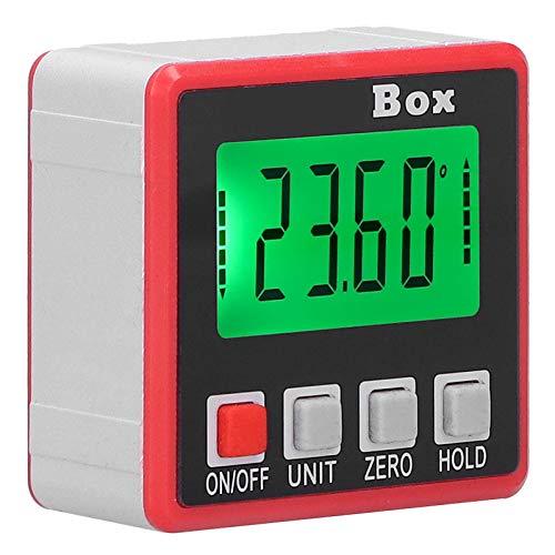 Medidor de ángulo de nivel, Inclinómetro digital de caja de nivel Mini medidor de ángulo de nivel con luz de fondo fuerte para medir