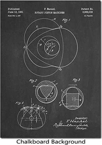 Wankel Rotary Engine Patent Print Art 1961