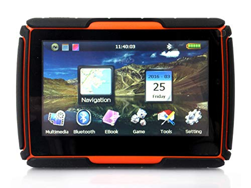 NBVNBV Moto 4.3'' GPS Waterproof Navigator Digital Video Player Fit for Motorcycle and Car Bluetooth Free Map