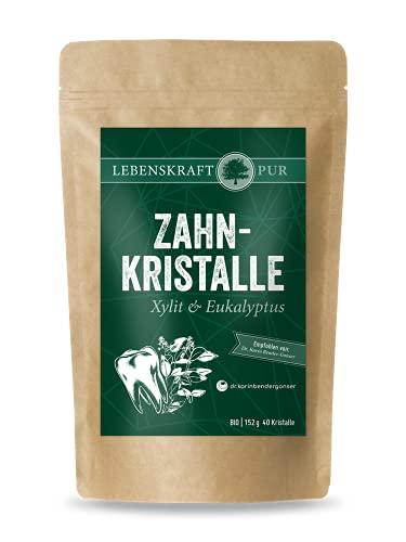 Bio Zahnkristalle Xylit & Eukalyptus | 40 Zahnpflege Kristalle | 152 g | 100% Bio-Xylit | Xylit Bonbons