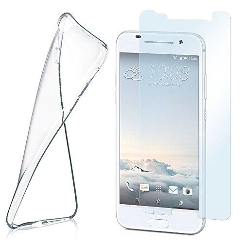 moex Aero Hülle mit Panzerglas für HTC One A9 - Hülle mit Schutzfolie, transparent - Crystal Clear