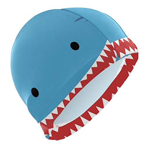 Tarity Swim Cap Men Cartoon Shark Waterproof Comfy Premium No-Slip Swiming Cap Bathing Hat Swimming Hat Bathing Cap for Short Or Long Hair Swim Hat