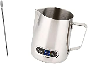 B Blesiya 600 ml kaffe skummande mjölk te latte kanna med termometer kaffe latte konst nål, diskmaskinssäker
