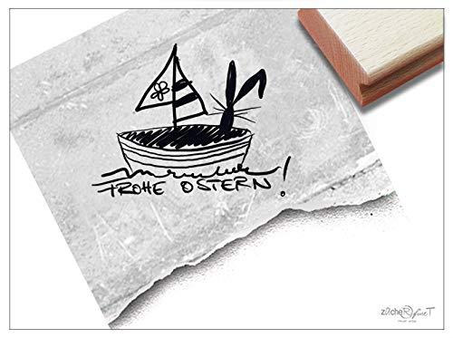 Stempel Osterstempel Frohe Ostern! Hase im Segelboot - Textstempel maritim, Karten zum Osterfest Geschenkanhänger Osterdeko Scrapbook - zAcheR-fineT