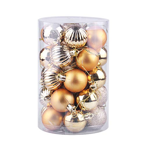 J-Feifei 34ct Christmas Ball Ornaments Shatterproof Christmas Decorations Tree Balls for Holiday Wedding Party Decoration, Tree Ornaments Hooks Included 1.57""