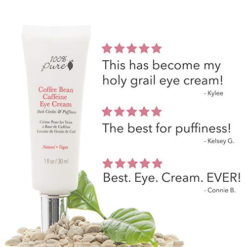 415Cp54X2lL - 100% PURE Coffee Bean Caffeine Eye Cream for Wrinkles, Anti-Aging, Dark Circles Under Eye Treatment for Eyelids and Under Eye Area - 1 Fl Oz