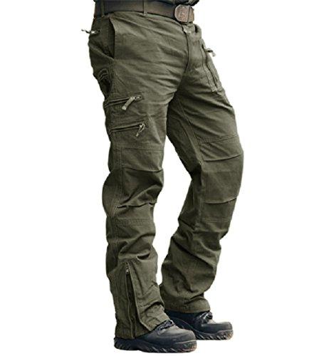 MAGCOMSEN Männer Slim Straight Fit Work Hose Militär Style Armee Tarnung Taktisch Hose Grün 32