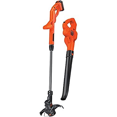 BLACK+DECKER LCC221 20V MAX Lithium String Trimmer/Edger Plus Sweeper Combo Kit, 10