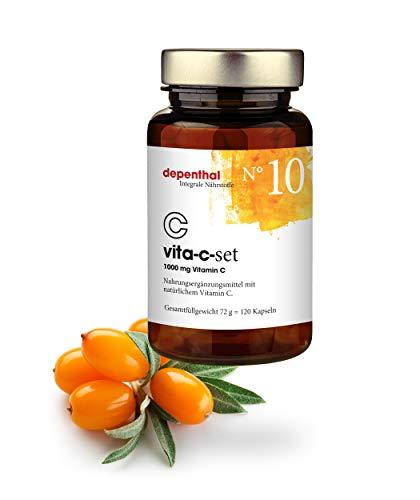 Natürliches Vitamin C hochdosiert – 1000 mg pro Tagesdosis ohne Zusatzstoffe - 120 Kapseln - Vitamin C aus Hagebutte, Sanddorn & Acerola - Laborgeprüft, vegan aus Deutschland. Nr. 10 vita-c-set
