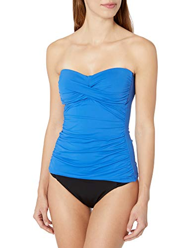 Anne Cole Women's Twist Front Shirred Bandeau Tankini Swim Top, Blueberry, Medium