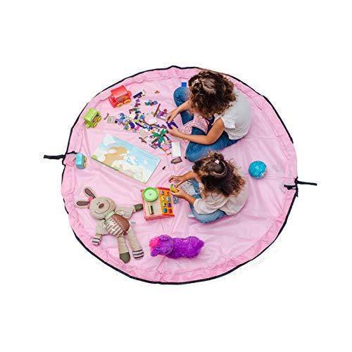 LKOPYUo Bolsa de almacenamiento de juguete portátil, bolsa de gran tinta para juguetes para niños, juguete para niños Mat Toys Organizer para niños juguetes Organizador Saco con cordón, Limpieza de ju