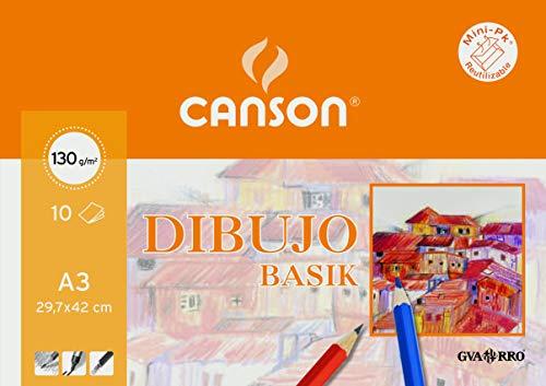 Papel Dibujo Basik 130gr Din A3 29,7x42,0 Cms En Minipacks De 10 Hojas
