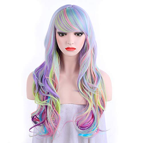 OneDor Long Curly Multi-Color Pastel Colorful Rainbow Hair Full Wigs - Charming Lolita Cosplay Party Wig