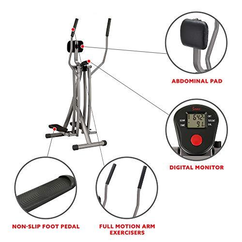 Sunny Health & Fitness SF-E902 Air Walk Trainer Elliptical Machine Glider w/ LCD Monitor, 220 LB Max...