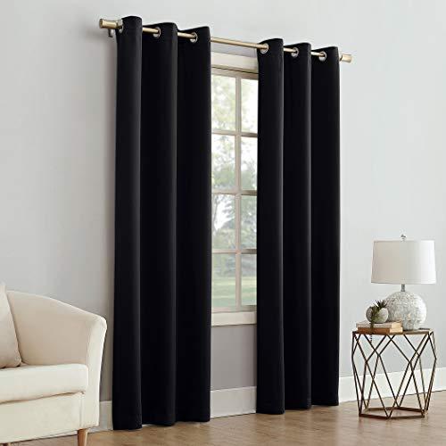 """Mainstay Blackout Energy Efficient Grommet Curtain Panel, 40"""" x 84"""", Black"""