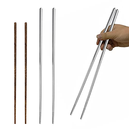 Metal chopsticks/Wooden Chopsticks,Dishwasher Safe Chopstick,Reusable for Noodles Frying Hotpot Extra Long Kitchen Chop Sticks Brown 2 Pairs(14/12.6Inch)