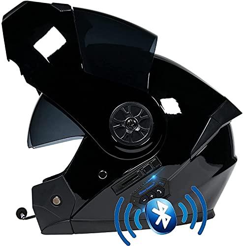 YSDKJ Motorbike Helmet Intercomunicador Integrado Casco de Motocicleta Impermeable Casco de Motocicleta Bluetooth de Cara Completa, Cascos modulares ECE/Dot con visores Dobles YSDKJ73(Color:A;Size:L)