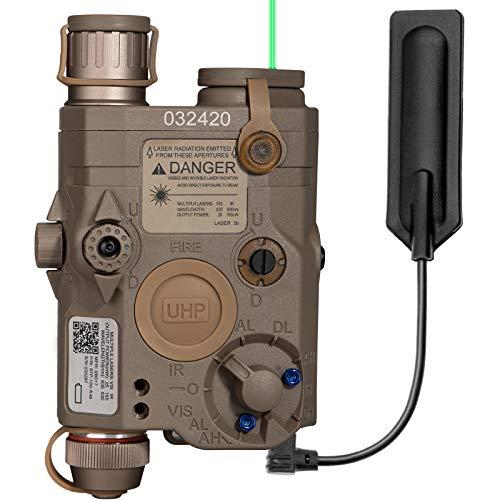 Action Union Upgraded Airsoft PEQ 15 Pro Green Laser PEQ Box IR Laser + Green Laser Sight + White LED Flashlight for AEG GBB CQB (Tan)