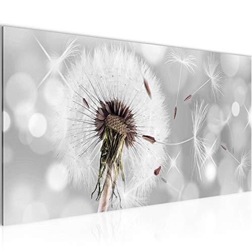 Bilder Blumen Pusteblume Wandbild 100 x 40 cm Vlies - Leinwand Bild XXL Format Wandbilder Wohnzimmer Wohnung Deko Kunstdrucke Grau 1 Teilig - MADE IN GERMANY - Fertig zum Aufhängen 211212a