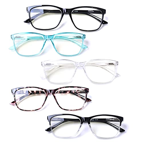 5 Pack Of Reading Glasses 4.0 Diopters With Blue Light Blocking For $2.78 From Amazon