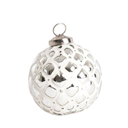 SARO LIFESTYLE XM217.S Glass Ball Ornament Set, 3-Inch, Silver, Round (Set of 4 pcs)