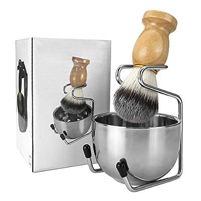 CCbeauty 3 in 1 Shaving Brush Set Shaving Soap Bowl & Shaving Stand & Badger Hair Shaving Brush Kit Shaving Cleaning Tool for Men