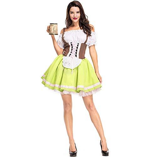 L-SLWI Gras Grünes Bier Kostüm, Bayerische Tracht, Karnevalskostüm Weingut, Arbeitskleidung, Kleid, Top, Schürze, Größe,M