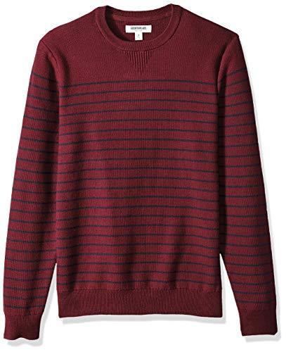 Goodthreads Men's Soft Cotton Multi-Color Striped Crewneck Sweater, Burgundy/Navy, XXX-Large