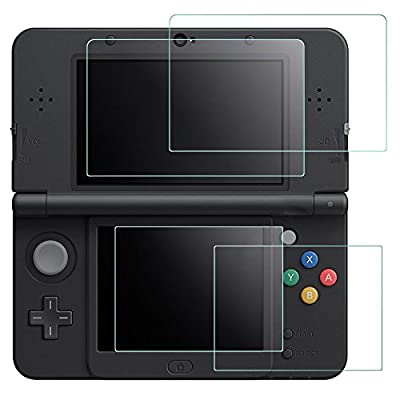 Screen Protector for Nintendo NEW 3DS, AFUNTA 2 Pack (4 Pcs) Tempered Glass for Top Screen and HD Clear PET Film for Bottom Screen, 3DS Film Accessory