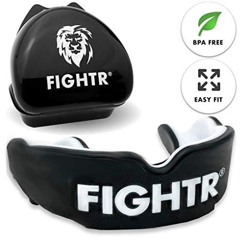 FIGHTR Premium Mundschutz | max.Sauerstoff und Sicherheit + Easy fit | BPA freier Zahnschutz inkl. Box | Boxen, MMA, Muay Thai (schwarz)