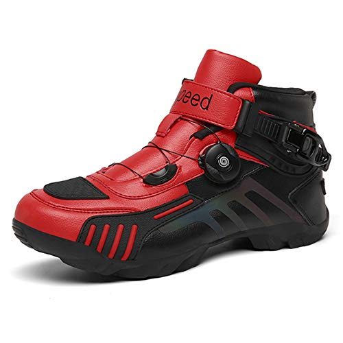 MRDEAR Motorschoenen, sneakers voor heren en dames, met instelknop, motorlaarzen, motorschoenen, ademend, antislip, korte enkellaarsjes, sportschoenen, turnschoenen, 3 kleuren, rood, 40 EU