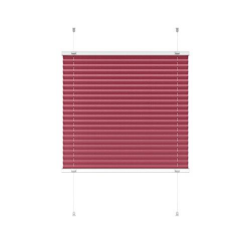 Victoria M. Indiva Lite Plissee-Rollo ohne Bohren 60 x 200 cm, Hochwertiges Scheibenrollo Plissee Faltrollo mit Klemmträger für Fenster und Türen Sichtschutzrollo Klemm-Rollo rot