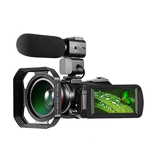 ZHAN 4K-Camcorder, Digital-Videokamera 4K WiFi Camcorder Infrarot-Nachtsicht 30X Digitalzoom 24MP Mit Weitwinkel-Objektiv Stabilisator Mikrofon, Videokamera-Camcorder