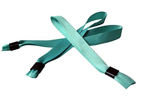 20 Stück Stoffbänder für Festivals mit Plastik-Schiebeverschluß, aqua