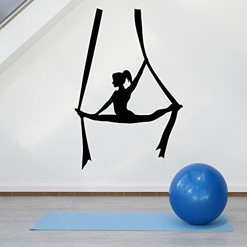 Tianpengyuanshuai yoga pose vinyl wandtattoos vliegen lucht yoga balans meisjes centrum meditatie slaapkamer decoratie accessoires wandsticker
