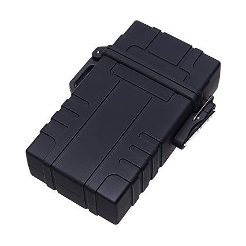 GoodsLand 【 電熱 ライター付き 】 防水 シガレットケース 20本 メンズ タバコ入れ タバコケース かっこいい GD-CIGACASE-BK