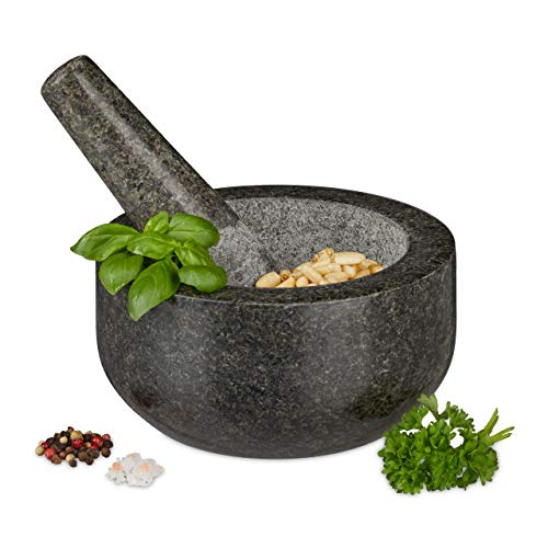 Relaxdays Granit Mörser mit Stößel, robust & langlebig, Gewürze, Kräuter, polierter Steinmörser, Ø 16 cm, 400 ml, grau